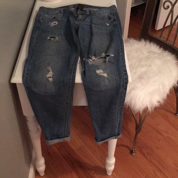 Mossimo Supply Co. Denim - Medium wash ripped boyfriend jeans